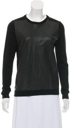 Theory Long Sleeve Leather & Wool Sweater