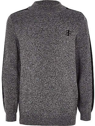 River Island Boys grey knit high neck sweater