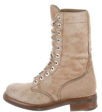 Chanel Ponyhair Lace-Up Army Boots