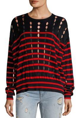 T by Alexander Wang T by Striped Cotton Pullover