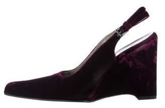 Prada Velvet Slingback Wedges