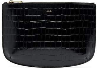 A.P.C. Sarah Crocodile Effect Leather Pouch - Womens - Black