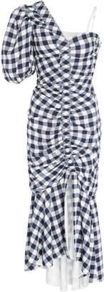 Jonathan Simkhai One-Shoulder Ruched Gingham Twill Midi Dress