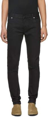 Balmain Black Six-Pocket Distressed Biker Jeans