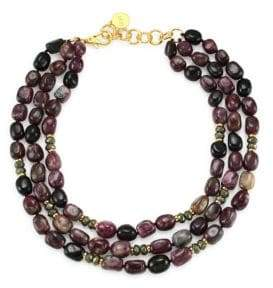 Nest Tourmaline& 24K Goldplated Statement Necklace