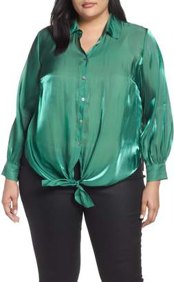 Vince Camuto Button Down Tie Front Iridescent Blouse