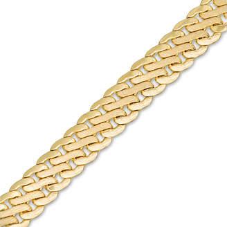 """Zales Made in Italy 080 Gauge Satin S-Link Chain Bracelet in 14K Gold - 7.5"""""""