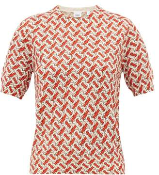 Burberry Tb Print Short Sleeved Wool Sweater - Womens - Red