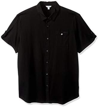 Calvin Klein Men's Short Sleeve Woven Button Down Shirt