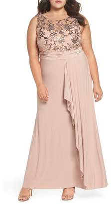 Morgan & Co. Sequin Lace Bodice Ruffle Skirt Knit Gown