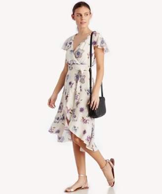 Sole Society Hi-Lo Wrap Dress With Ruffled Shoulder