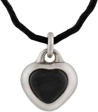 Snake Bones - Framed Black Stone Heart Pendant in Sterling Silver