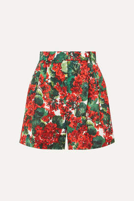 Dolce & Gabbana Pleated Floral-print Cotton-blend Poplin Shorts - Red
