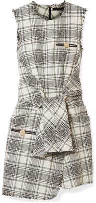 Alexander Wang Leather-trimmed Bouclé-tweed Mini Dress