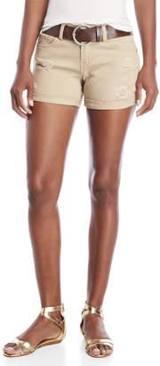 Dollhouse Tan Belted Roll Cuff Shorts