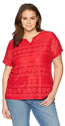 Alfred Dunner Alf Dunner Women's Plus Size Solid Lace Top