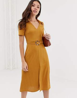 Asos Design DESIGN rib midi shirt dress with faux tortoiseshell buckle