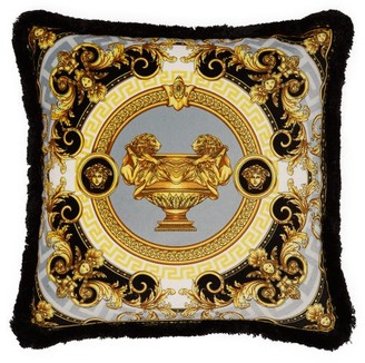 Versace La Coupe Des Dieux Velvet Cushion - Grey Gold