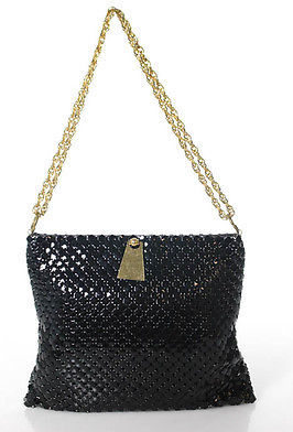 Designer Black Metal Mesh Chain Strap Shoulder Handbag