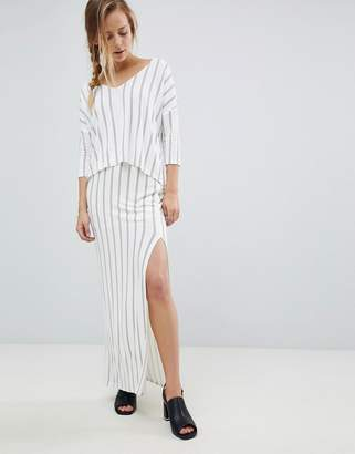 Bellfield Vana Pinstripe Split Side Maxi Skirt