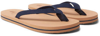 Brunello Cucinelli Leather-Trimmed Cotton-Webbing Flip-Flops