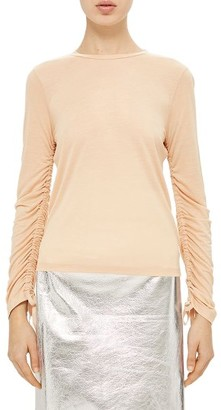 Women's Topshop Boutique Ruched Sleeve Tee $65 thestylecure.com