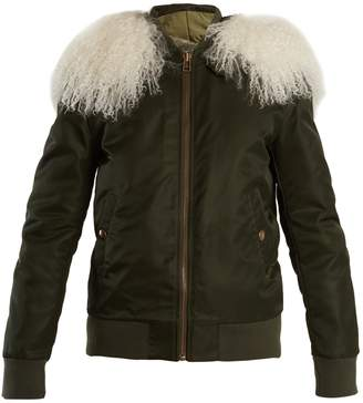 Mr & Mrs Italy Mongolian fur-lined satin bomber jacket