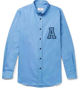 Ami Button-Down Collar Appliquéd Cotton Shirt