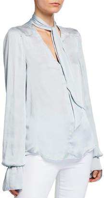 Paige Martina Tie-Neck Long-Sleeve Blouse