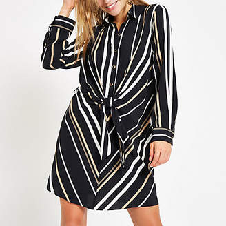 River Island Black stripe tie front shirt dress