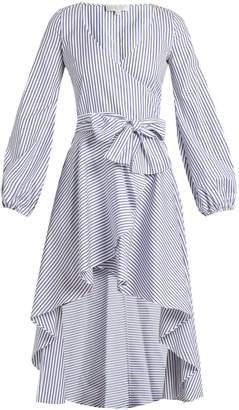 Caroline Constas Lena asymmetric-hem cotton wrap dress