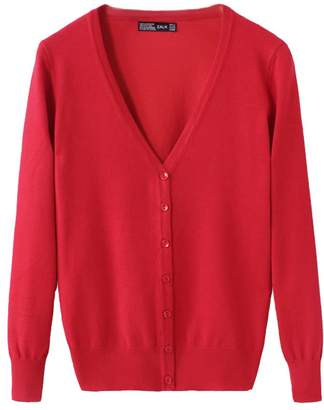 Classic Pink Women's Basic Cardigan V Neck Knit Spring Button Down Long Sleeve Sweater Outwear XL