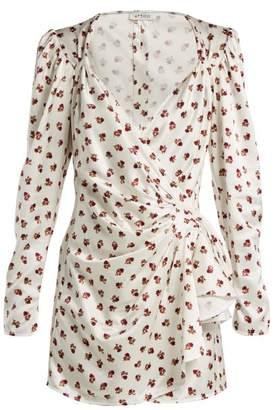 ATTICO Floral Print Satin Wrap Dress - Womens - White Multi