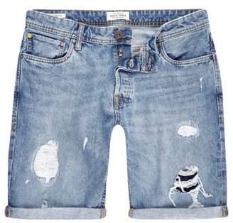 River Island Blue Jack and Jones ripped denim shorts