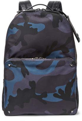 Valentino Garavani Leather-Trimmed Camouflage-Print Shell Backpack