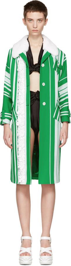 Miu MiuMiu Miu Green & White Embellished Floral Coat