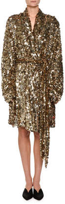 ATTICO Allover Dripping Sequins Belted Tulle Jacket Dress