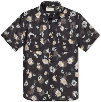Saint Laurent Short Sleeve Flower Shirt