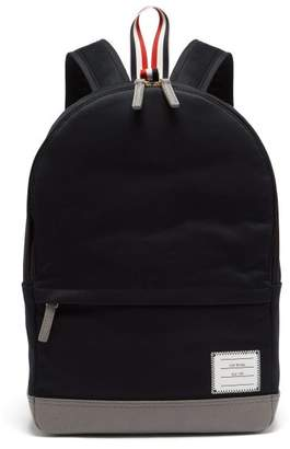 Thom Browne Twill And Pebbled Leather Backpack - Mens - Navy