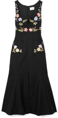 Alice McCall Rainbow City Embroidered Textured-cotton Midi Dress - Black