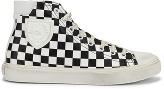 Saint Laurent Bedford Checkered Mid Top Sneakers in Black & White | FWRD