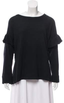 Current/Elliott Ruffle-Accented Long Sleeve Sweatshirt
