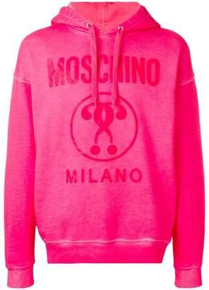Moschino washed logo hoodie