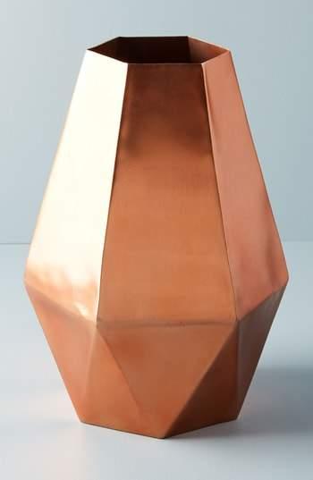 Faceted Hexagon Metal Vase