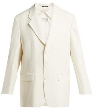 Maison Margiela Single Breasted Wool Blend Blazer - Womens - Cream