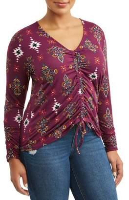 EYE CANDY Women's Plus Size V-Neck Center Shirring Top