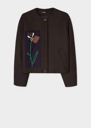Paul Smith Women's Black Wool-Blend Blouson Jacket With Ribbon Applique