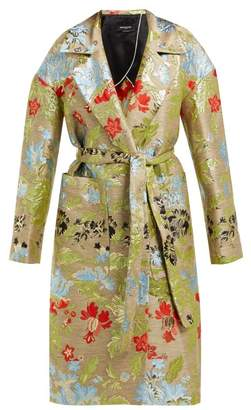 Rochas Belted Floral Brocade Coat - Womens - Green Multi