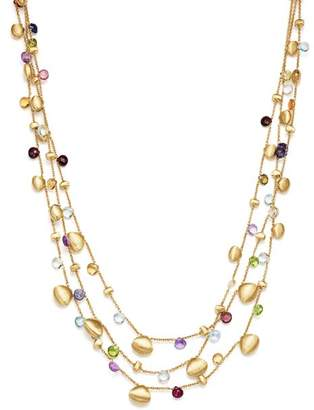 "Marco Bicego 18K Yellow Gold Paradise Teardrop Three Strand Gemstone Necklace, 16"""