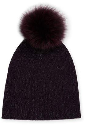 Sofia Cashmere Metallic Knit Fur-Pom Beanie Hat